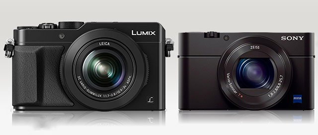 A camera size comparison between the LX100 (left) and the RX100 III (right), courtesy of Camera Size.