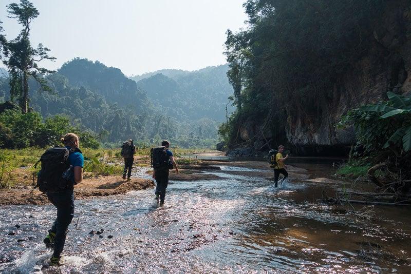 Parts of the #SonDoong360 team walking through Phong Nha-Ke Bang