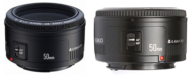 Canon's $125 50mm f/1.8 II (left) compared to Yongnuo's $68 50mm f/1.8 (right)