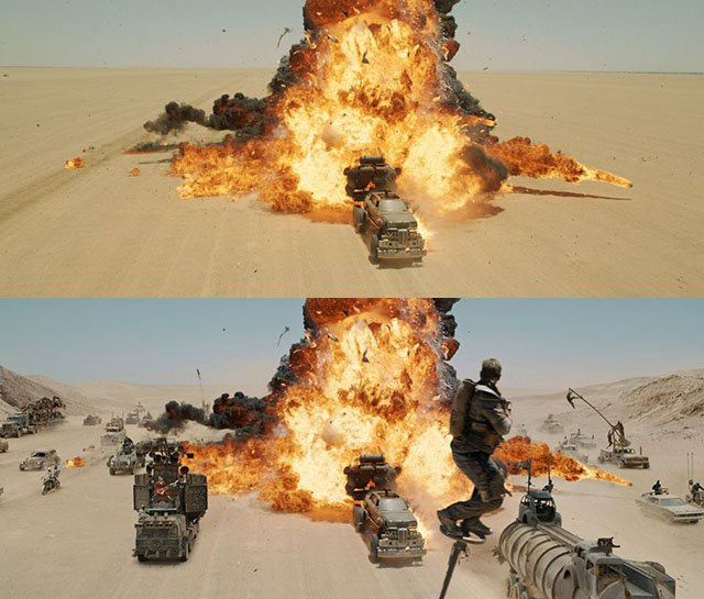 Before and After Comparisons of the Visual Effects in Mad Max: Fury Road