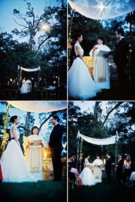 A candlelight and moonlit ceremony held after dark, on 35mm CineStill 800T pushed 2 stops.