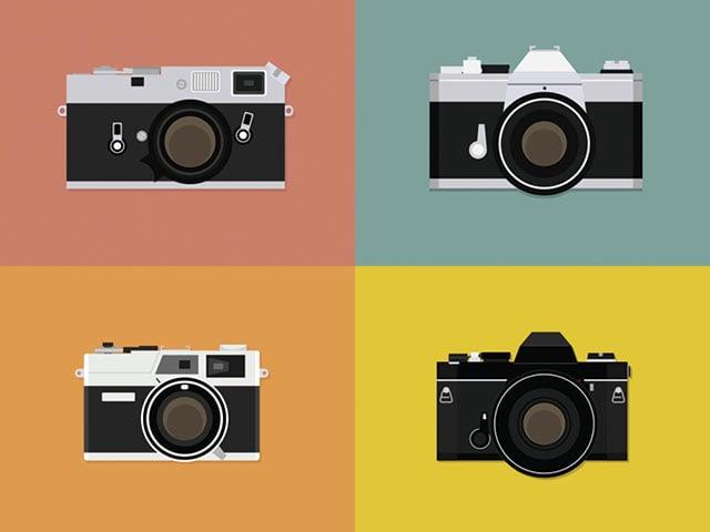 Simple Illustrations of Iconic Vintage Film Cameras