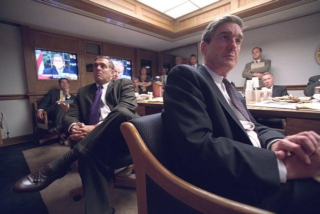 Senior Staff Listen to President Bush's Address in the President's Emergency Operations Center (PEOC)