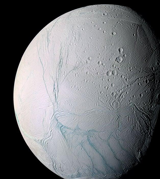 Saturn's icy moon Enceladus. [#]