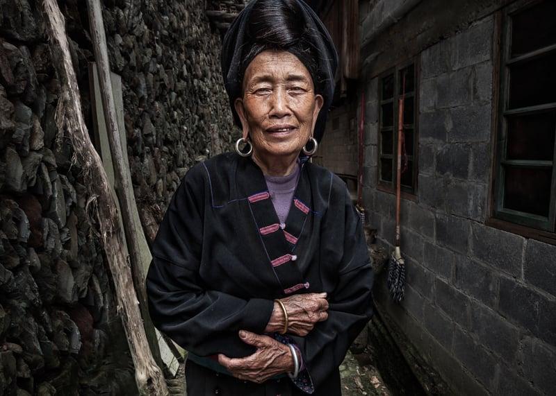 Woman from Xiaozhai Village near China's Longji Rice Terraces.