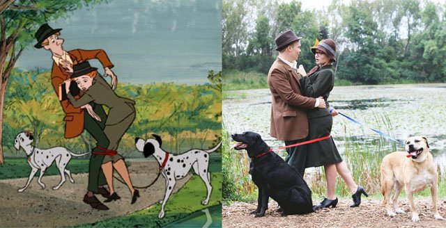 This Engagement Shoot Recreates the Opening Scene of '101 Dalmatians'