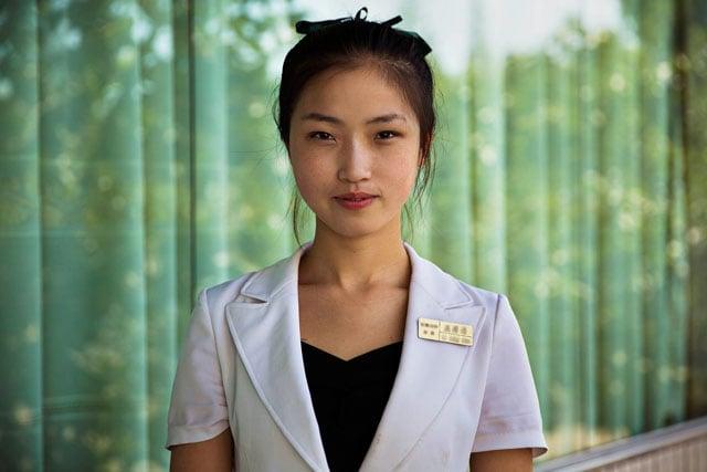 A waitress in Pyongyang