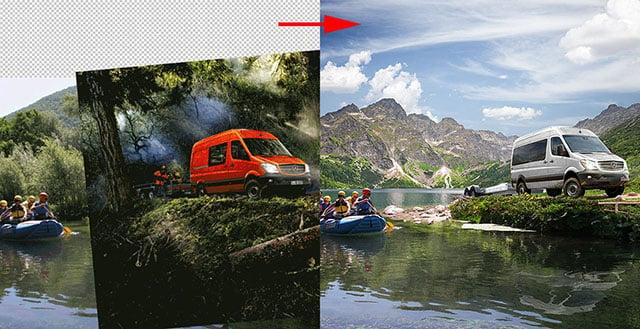 Creating Photoshop Composites for a Mercedes-Benz Sprinter 4×4 Brochure