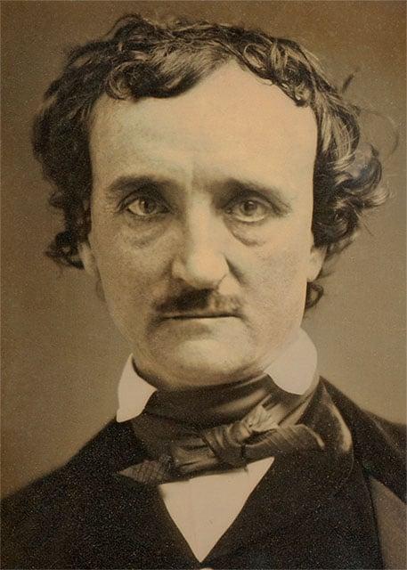 A daguerreotype  portrait of Edgar Allan Poe from 1849.
