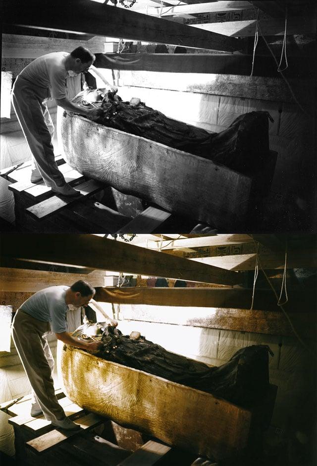 Howard Carter examines Tutankhamun's sarcophagus.