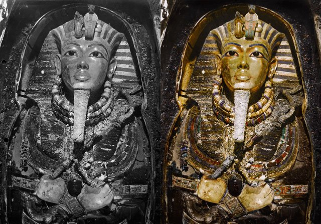 Colorized Photos of the Discovery of King Tut's Tomb