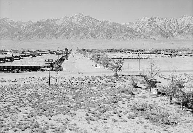 Manzanar from Guard Tower, view west (Sierra Nevada in background).