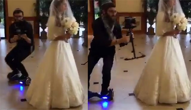 A Wedding Photographer on a Self-Balancing Scooter