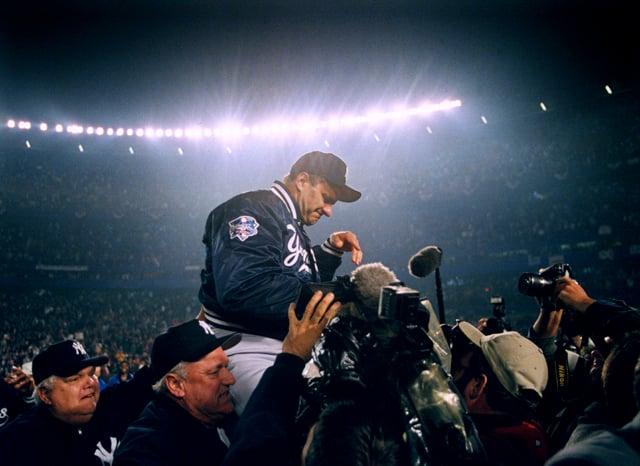Joe Torre and the New York Yankes win, 2000. Photo by Brad Mangin.
