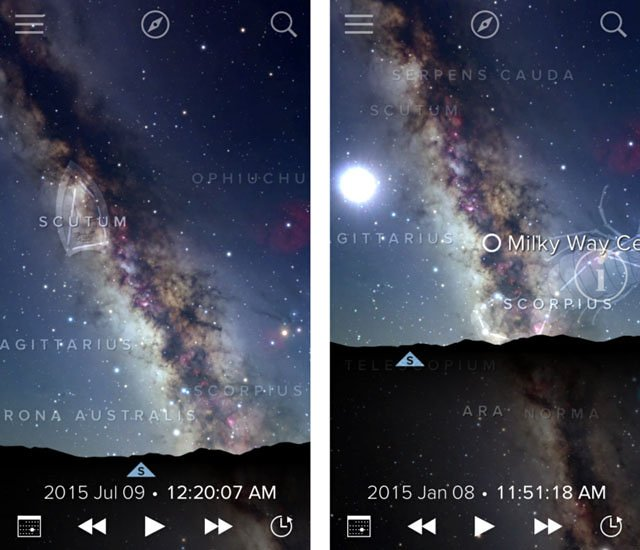 Using the Sky View app, I can see that the Milky Way core is best viewed in July vs. January.
