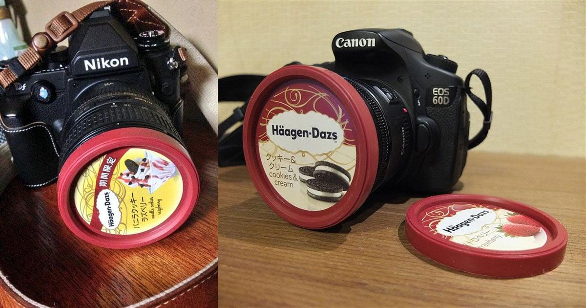 Häagen-Dazs Ice Cream Lids Are Perfect 72mm Lens Caps