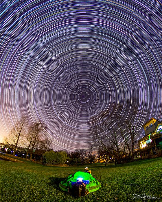 Photographer Shoots A Self-Portrait With Star Trails