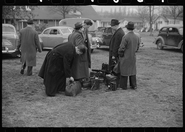 News photographers at tourist camp, Washington, D.C. Photo by Reginald Hotchkiss.