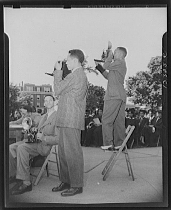 Washington, D.C. Photographers from the Negro press at Howard University commencement exercises. Photo by Gordon Parks.