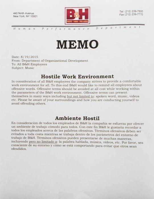 Hostile Work Notice