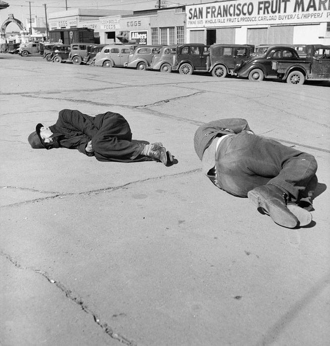 """Scene along """"Skid Row."""" Howard Street, San Francisco, California. February 1937."""