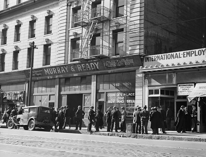 """Howard Street in San Francisco, known as """"Skid Row,"""" the district of the unemployed. February 1937."""