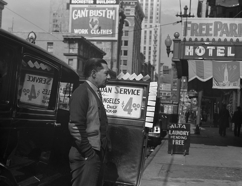 Salvation Army, San Francisco, California. In the neighborhood where the Salvation Army operates. Sedan service to Los Angeles on share the expense basis. April 1939.