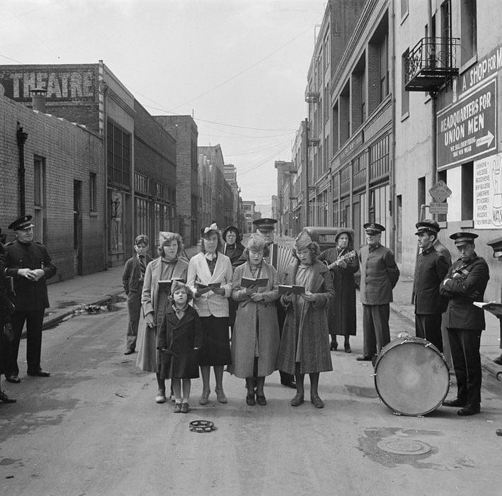 Salvation Army, San Francisco, California. Girls' Sunday school class sings between preaching. April 1939.