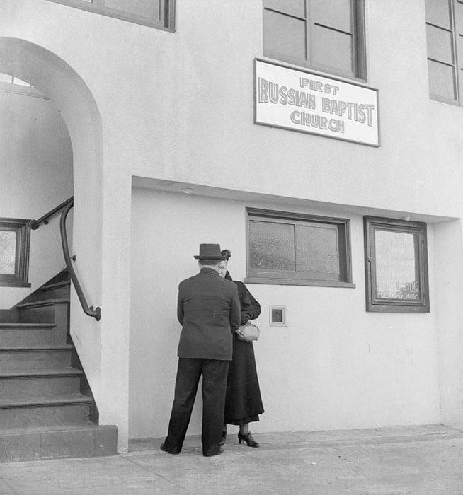 """Church in Potrero district where there is a """"Russian-White"""" colony. San Francisco, California. April 1939."""