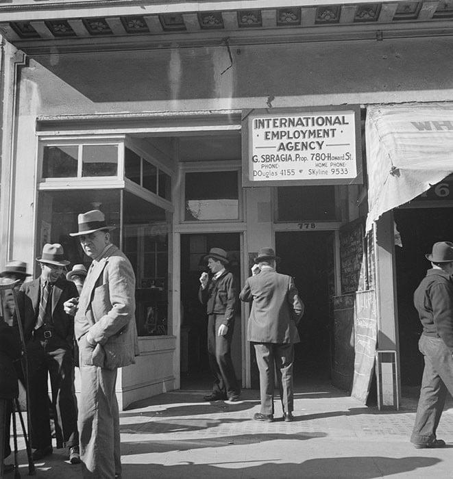 Employment agency on Howard Street. San Francisco, California. February 1937.