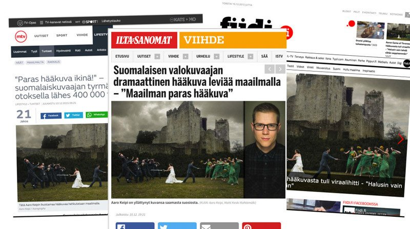 Screengrabs of articles in Finnish media