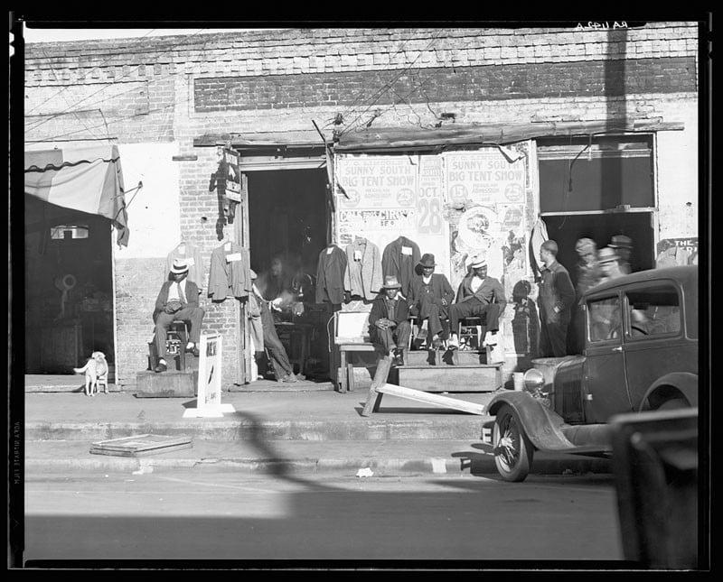 Sidewalk scene in Selma, Alabama. December 1935.