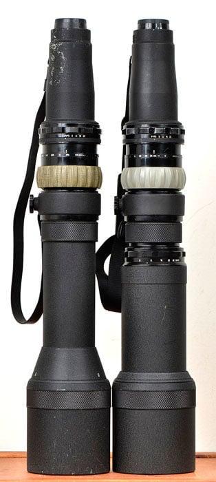 Left: Nikkor-P 800mm f/8 old version. Right: New version