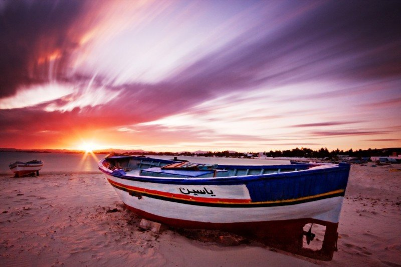 fishing-boat-at-sunset-tunisia
