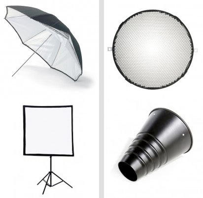 On the left you have the umbrellas and softboxes, these are soft light modifiers and on the right you have grids and snoots, these are hard light modifiers.