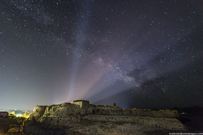 The Milky Way rises over the Castle of Methoni, in Messinia, Greece, at the southernmost point of the west coast of Peloponnese, in a place which had been fortified since the 7th century BC. Until 1204 AD it was used as a fort by the Byzantines, while in 1209 AD the Venetians became the rulers of the area.