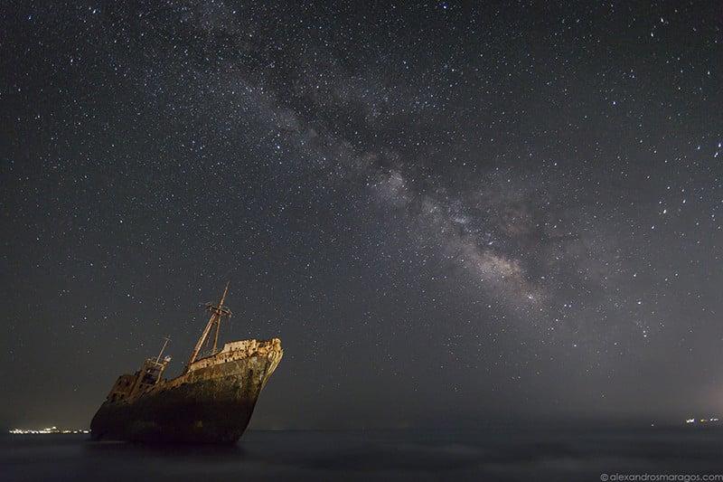 "The Milky Way over ""Dimitrios"" shipwreck at Gytheio, Greece."