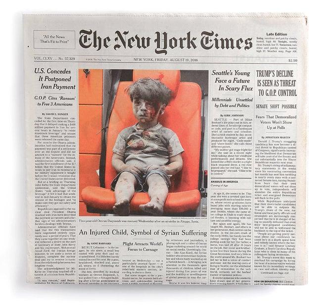 The New York Times on August 19th featured Mahmoud Raslan's image of Omran Daqneesh