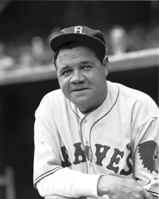 A portrait of Ruth while playing for the Boston Braves at his last professional game. Ruth hit his last three homeruns during his farewell appearance in 1935 when this shot was taken by Conlon. Ruth retired a week later.