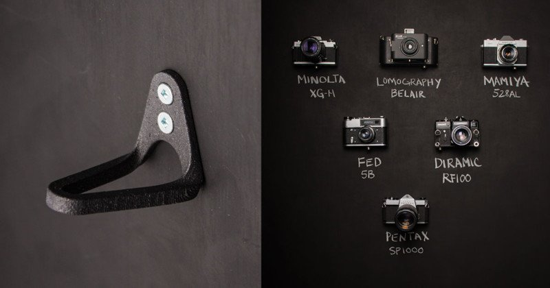 HANGIE is a Minimalist Wall Mount for Displaying Cameras