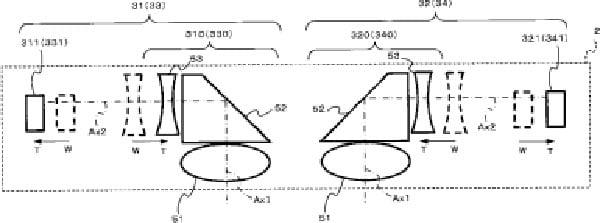 Una vista aérea que muestra las lentes (abajo), elementos de cristal internos (centro) y los sensores (lados).
