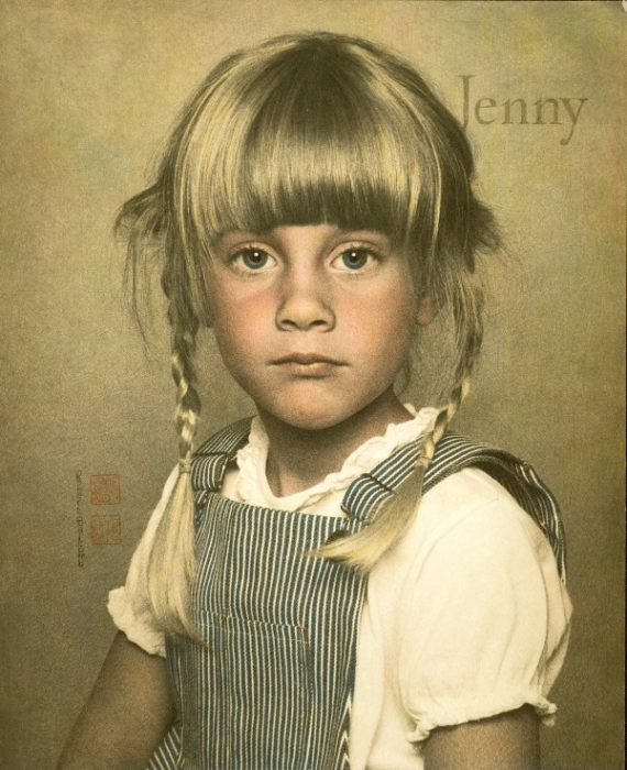 Jenny in Pigtails by Robert Balcomb, William Mortensen's most accomplished disciple. Shot on film, finished by hand on photographic paper. No photoshop.