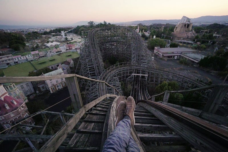 Habchy climbed to the top of the tallest rollercoaster, a wooden one over 30 meters (98 feet) tall.