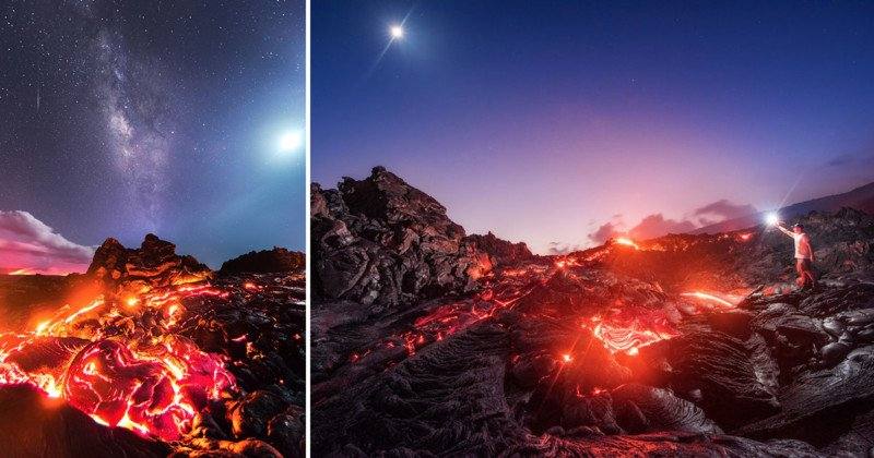 This Photo Captures Lava, Milky Way, Meteor, and Moon in a Single Shot