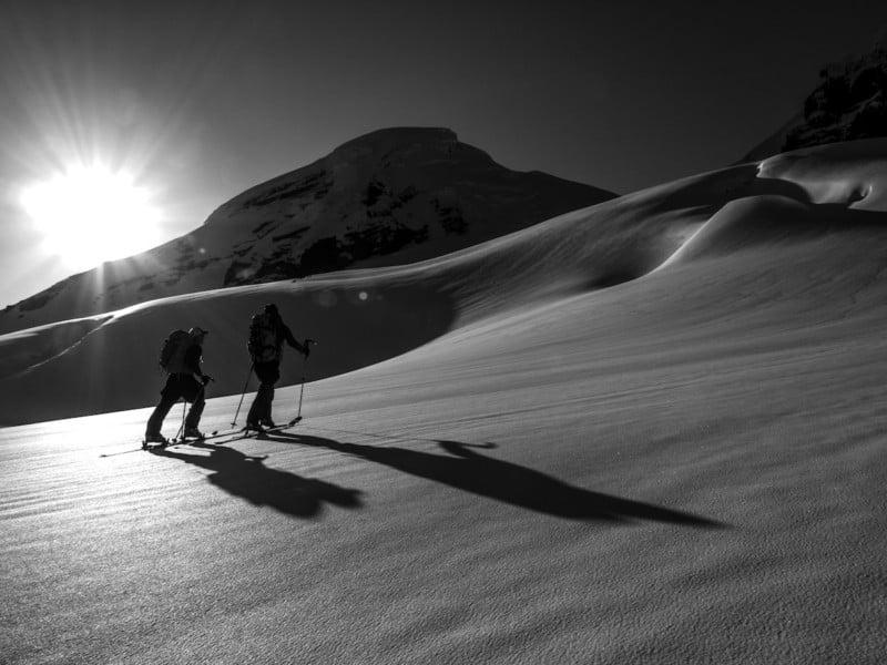 Brian Fletcher and Erik Svege on Mt. Baker's Coleman Glacier.