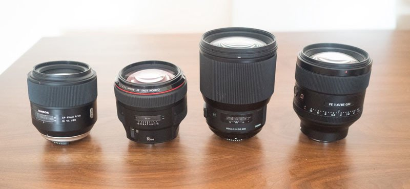 From left to right: Tamron 85mm f/1.8, Canon 85mm f/1.2, Sigma 85 f/1.4 Art, Sony 85 f/1.4