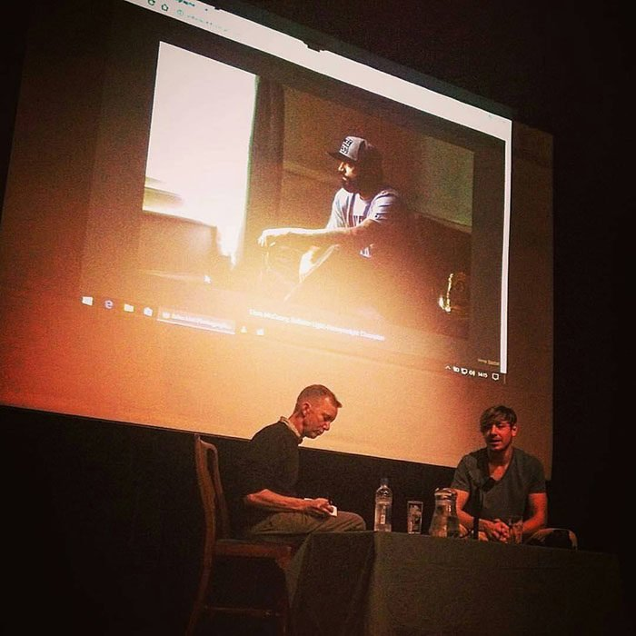 Sat on stage (right) in conversation with my old tutor, Dave White (left). I can't understate how important my tutors have been for me since leaving University, they've had my back all this time and continue to do so.