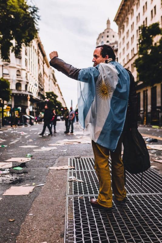 Man expressing Argentine pride