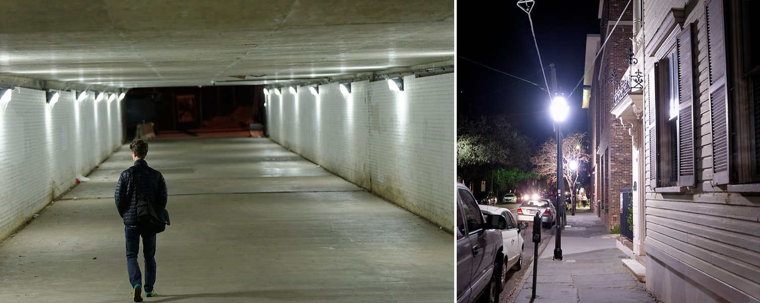 Automatic white balance settings in metal halide lighting. Left: 3349K/+37 tint, Right: 3364K/+22 tint
