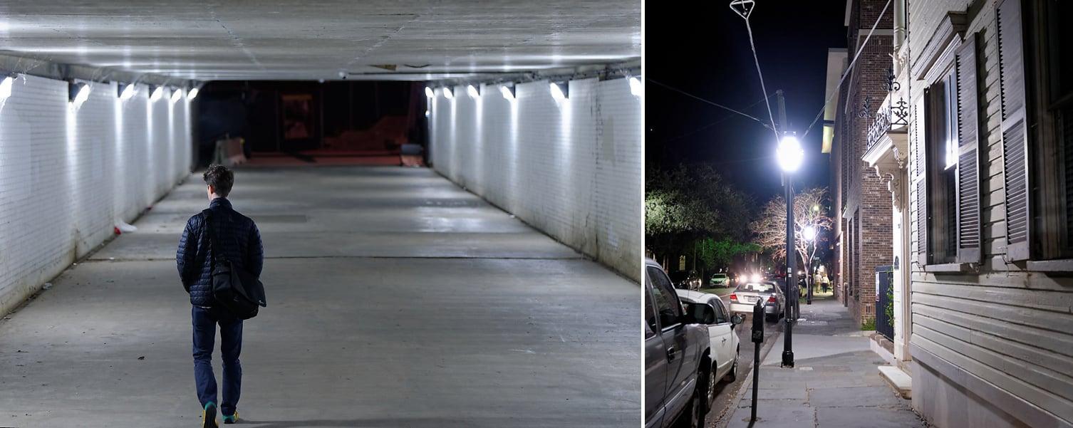 Altered white balance settings in metal halide lighting. Left: 3050K/+65 tint, Right: 3300/+9 tint